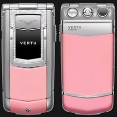 Vertu Ayxta Pink Leather Diamond Trim Ceramic Keys
