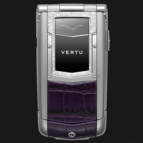 Vertu Ayxta Purple Leather Diamond Trim Ceramic Keys