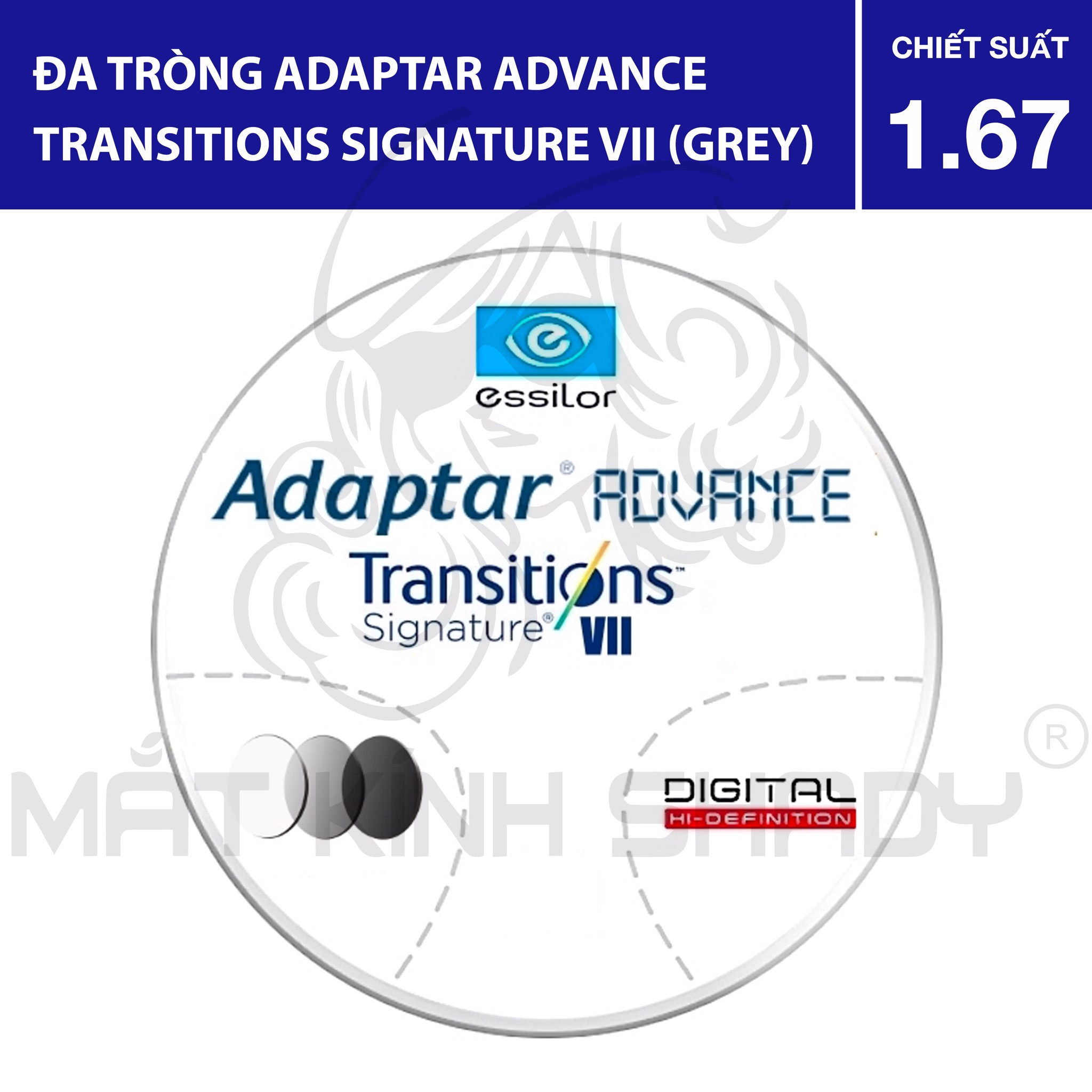 Đa tròng Adaptar Advance Transitions VII (Grey) - 1.67