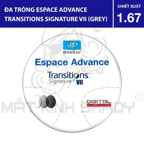 Đa tròng Espace Advance Transitions Signature VII (Grey) - 1.67