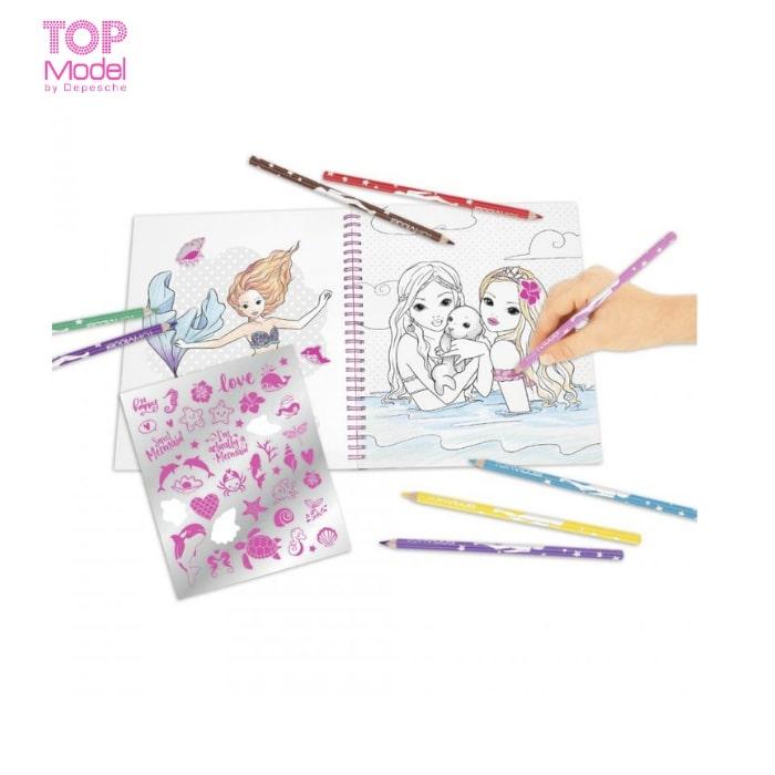 BST thiết kế thời trang Topmodel Fantasy Model Colouring Book With Reversible Sequins MERMAID 0411153