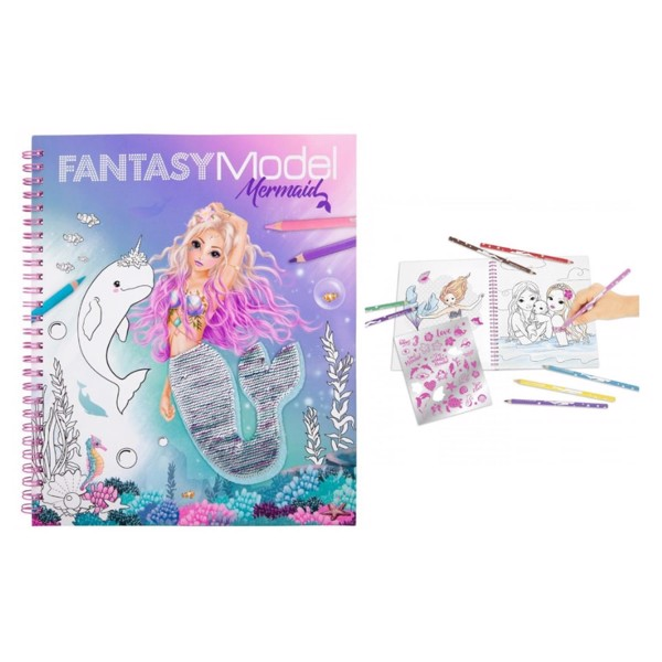 BST thiết kế thời trang Topmodel Fantasy Model Colouring Book With Reversible Sequins MERMAID 0411153