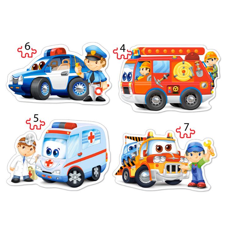 B0043932 Xếp hình puzzle Rescue services 4 bộ 4/5/6/7 mảnh CASTORLAND