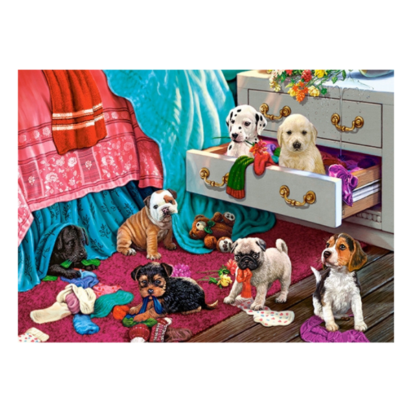 B0030292 Xếp hình puzzle Puppies in the Bedroom 300 mảnh CASTORLAND