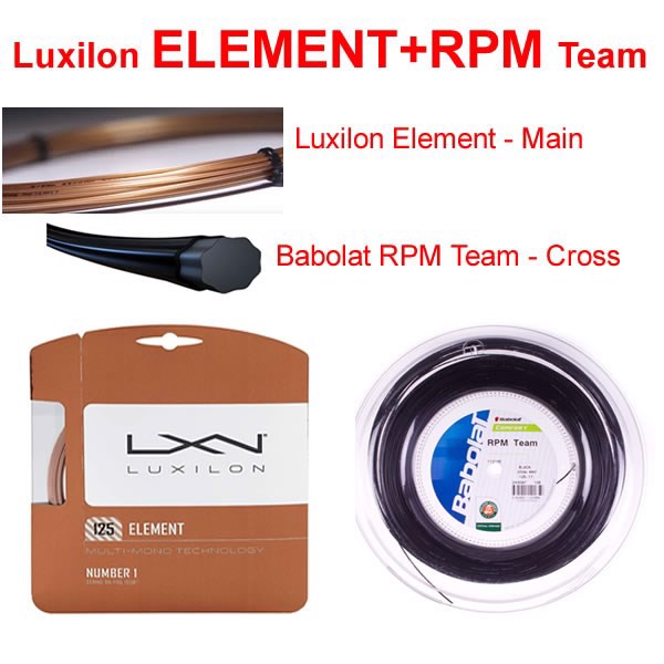 Dây phối Luxilon ELEMENT + Babolat RPM Team (Polybrid3)