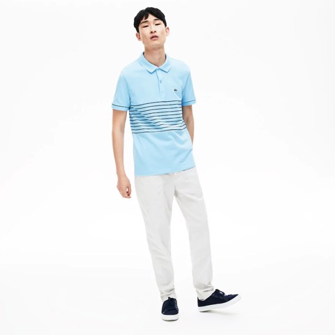 Áo Lacoste Sport MADE IN FRANCE Striped Cotton Petit Piqué Polo Shirt (PH4226-8VH)