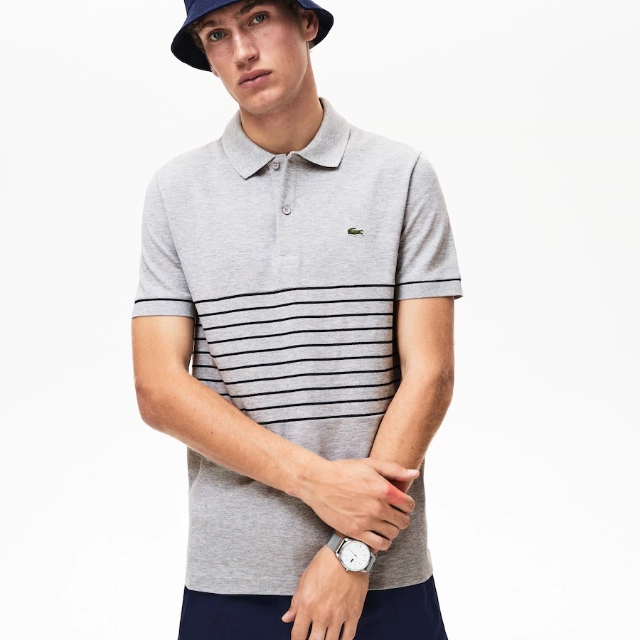 Áo Lacoste Sport MADE IN FRANCE Striped Cotton Petit Piqué Polo Shirt (PH4226-MNC)