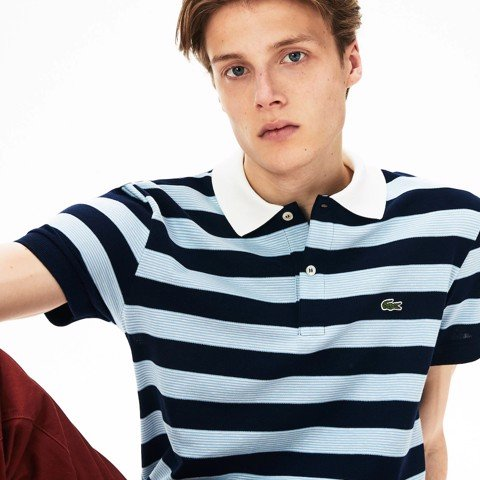Áo Lacoste Sport Regular Fit Striped Texturized Cotton Polo Shirt (PH4227-78C)