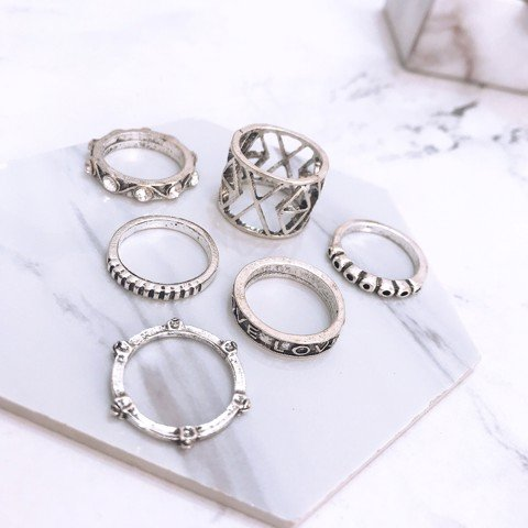 Set 6 nhẫn midiring love xoxo - Tatiana - NH2321