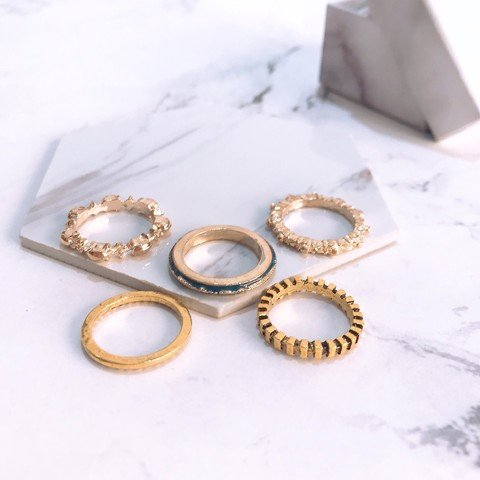 Set 5 nhẫn midiring hiphop fashion - Tatiana - NH2320