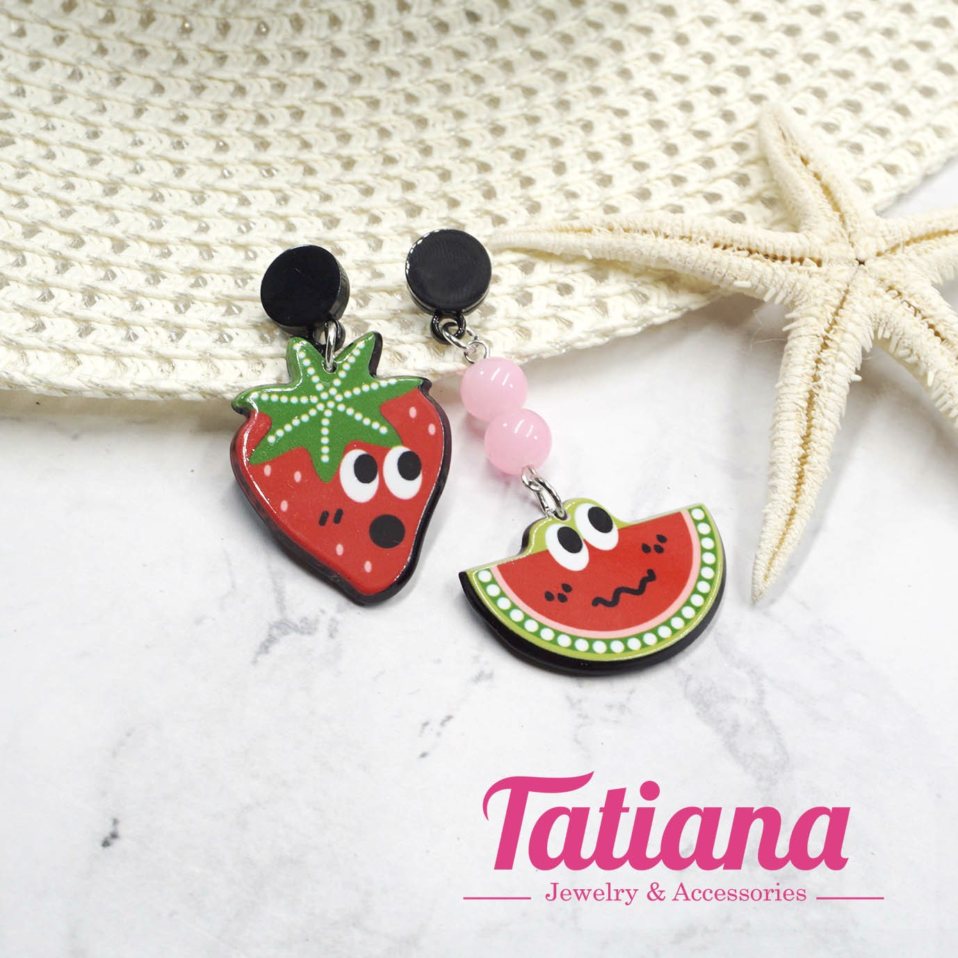Bông Tai BĐX Strawberry and Water Melon - Tatiana - BH3351 (Đỏ)