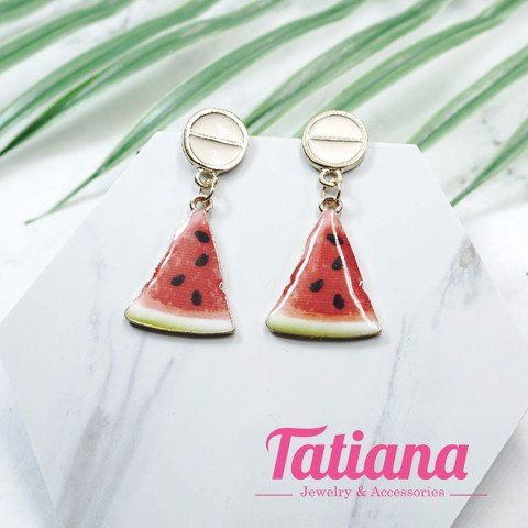Bông Tai Tropical WaterMelon Slice - Tatiana- BH3478 (Đỏ)