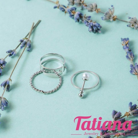 Set 3 Nhẫn Midi Ring Pearl Drop Line- TATIANA - NH2365 (Bạc )