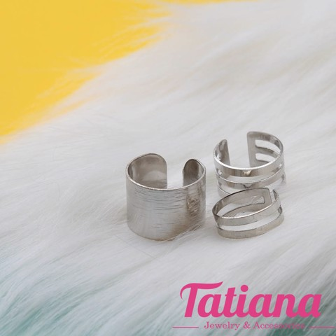 Set 3 Nhẫn Midi Ring Basic Metal- TATIANA - NH2367 (Bạc )