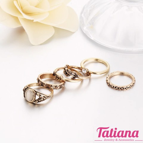Set 6 Nhẫn Midi Ring Greek- TATIANA - NH2382 (Đồng)
