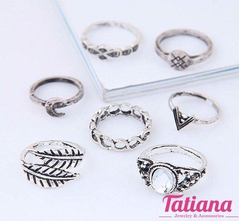 Set 7 Nhẫn Midi Ring Leaf Moon- TATIANA - NH2385 (Xám)