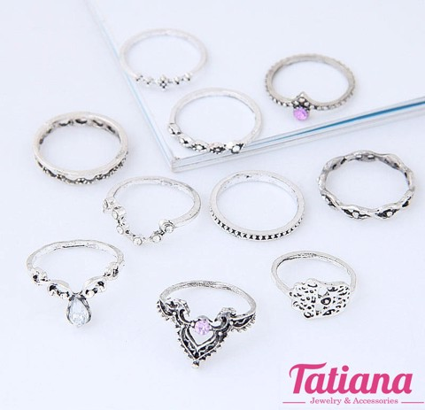 Set 10 Nhẫn Midi Ring Pattern- TATIANA - NH2389 (Xám)
