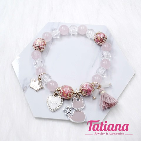 Vòng Tay Charm Color Mix Crown Heart Tatiana VH1056
