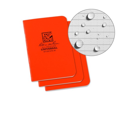 STAPLED MINI NOTEBOOK - UNIVERSAL - ORANAGE - 3 PACK