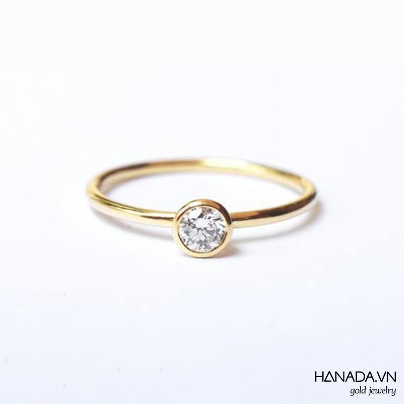 Nhẫn Vàng 14k Hanada Đá Swarovski 3-4 mm