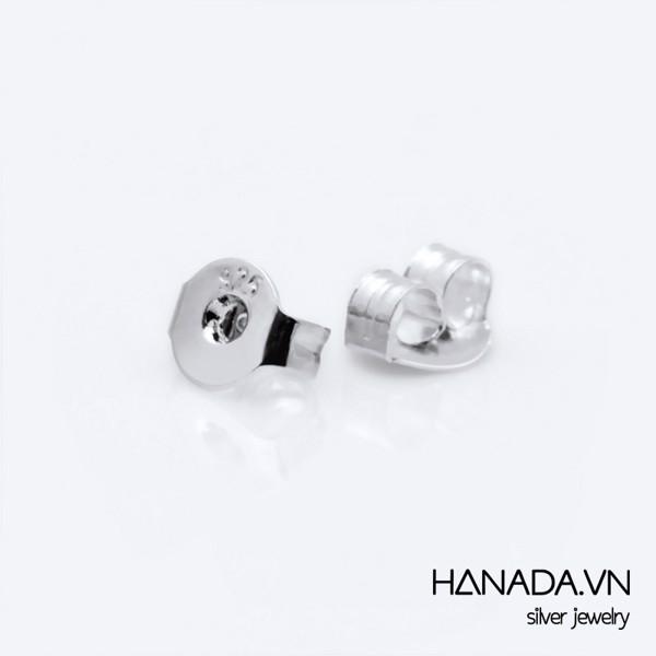 Bông Tai Bạc 925 Hanada Tam Giác 3 Đá Nhỏ 0368
