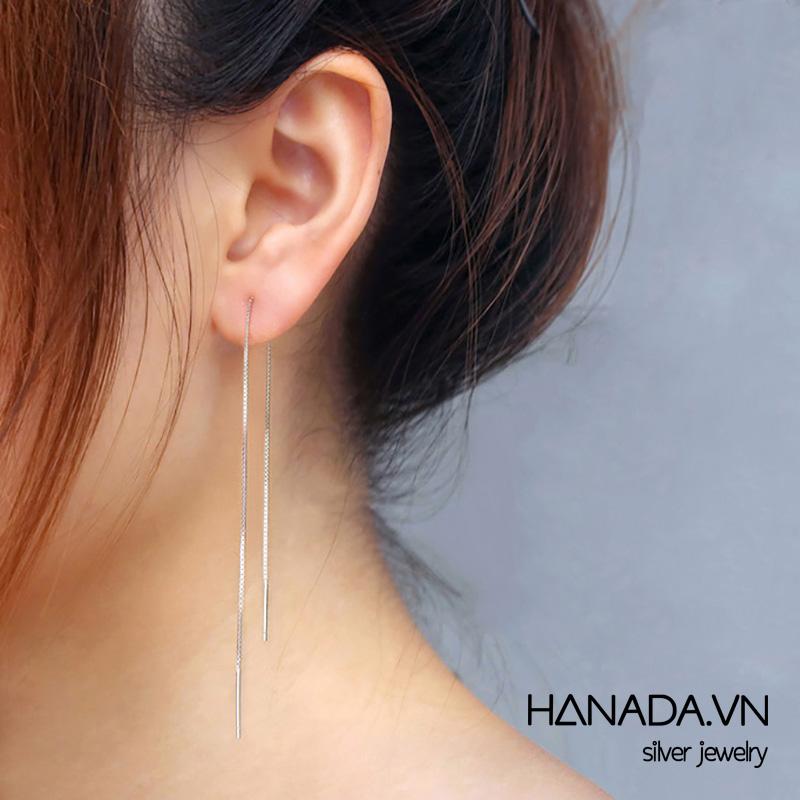 Bông Tai Bạc 925 Hanada TÒN TENG DÂY NHUYỄN DÀI E00 23