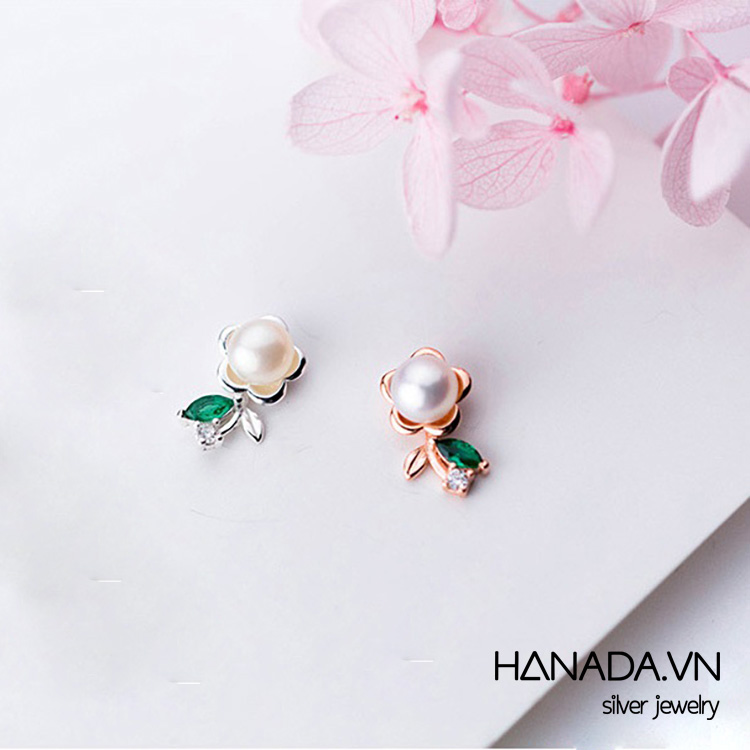 Bông Tai Bạc 925 Hanada Hoa Ngọc Trai
