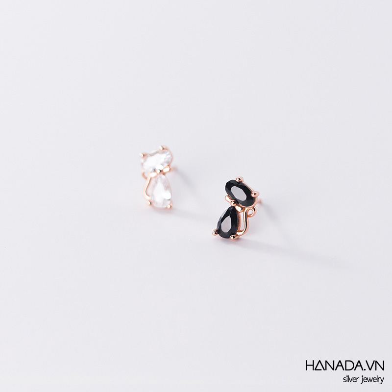 Bông Tai Bạc 925 Hanada N34.E.2.A.180. 0621 Mèo Trắng Đen