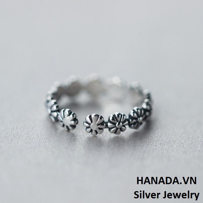 Nhẫn Bạc 925 Hanada HOA XI ĐEN R10 2
