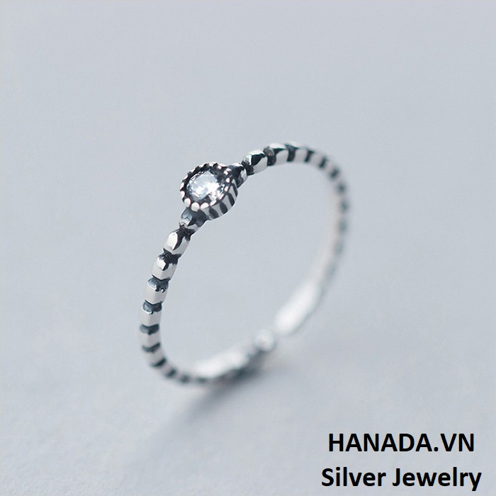 Nhẫn Bạc 925 Hanada N12.R.1.B.160.0536 Đá Tròn Xi Đen