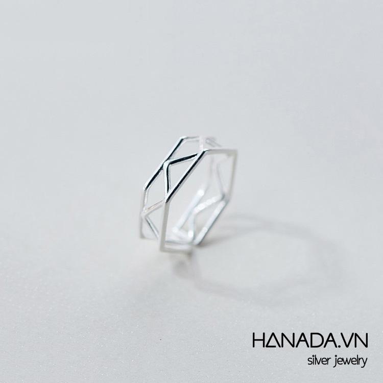 Nhẫn Bạc 925 Hanada Hình Học