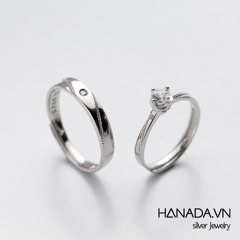 Nhẫn Bạc 925 Hanada N12.RCM.1.B.300.0098 Nhẫn Cặp Một Đá Cao