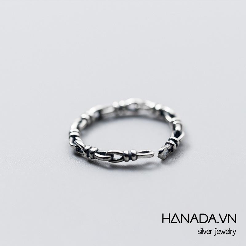 Nhẫn Bạc 925 Hanada N34.R.0.B.200.0550 Xích Xi Đen