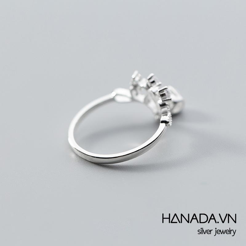Nhẫn Bạc 925 Hanada N1234.R.2.S.240.0091 Vương Miện Treo Giọt Nước