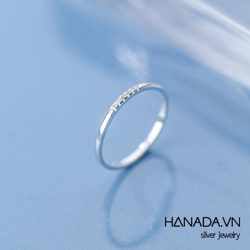Nhẫn Bạc 925 Hanada N1234.R.2.B.160.0077 Nửa Vòng Đá