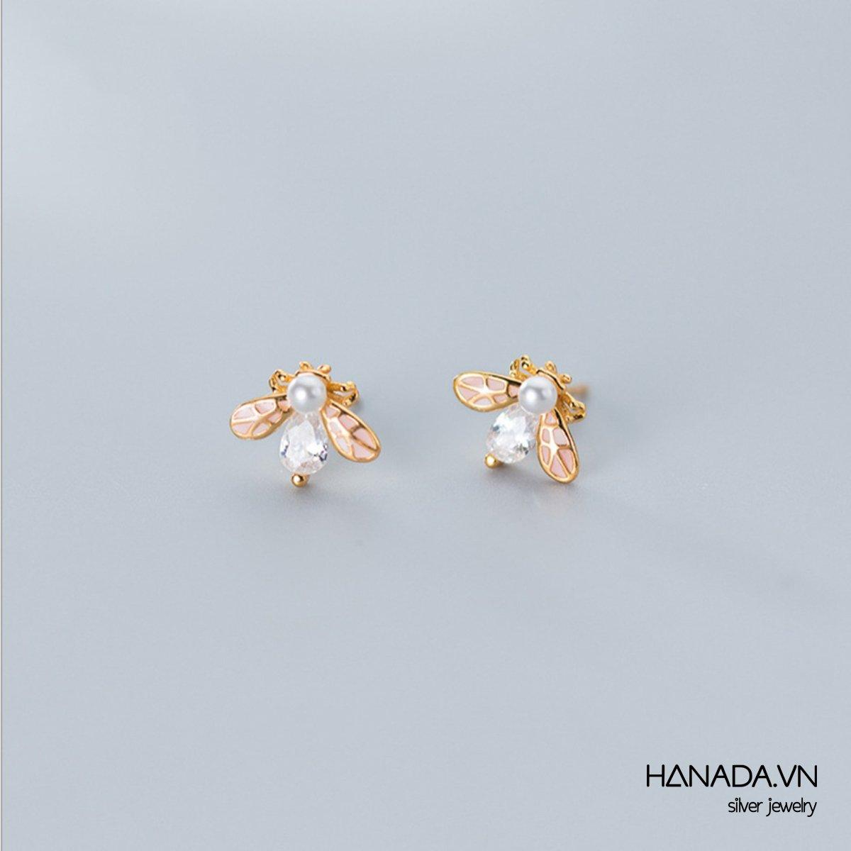 Bông Tai Bạc 925 Hanada N34.E.P.A.300. 518 Ong Vàng Ngọc Trai