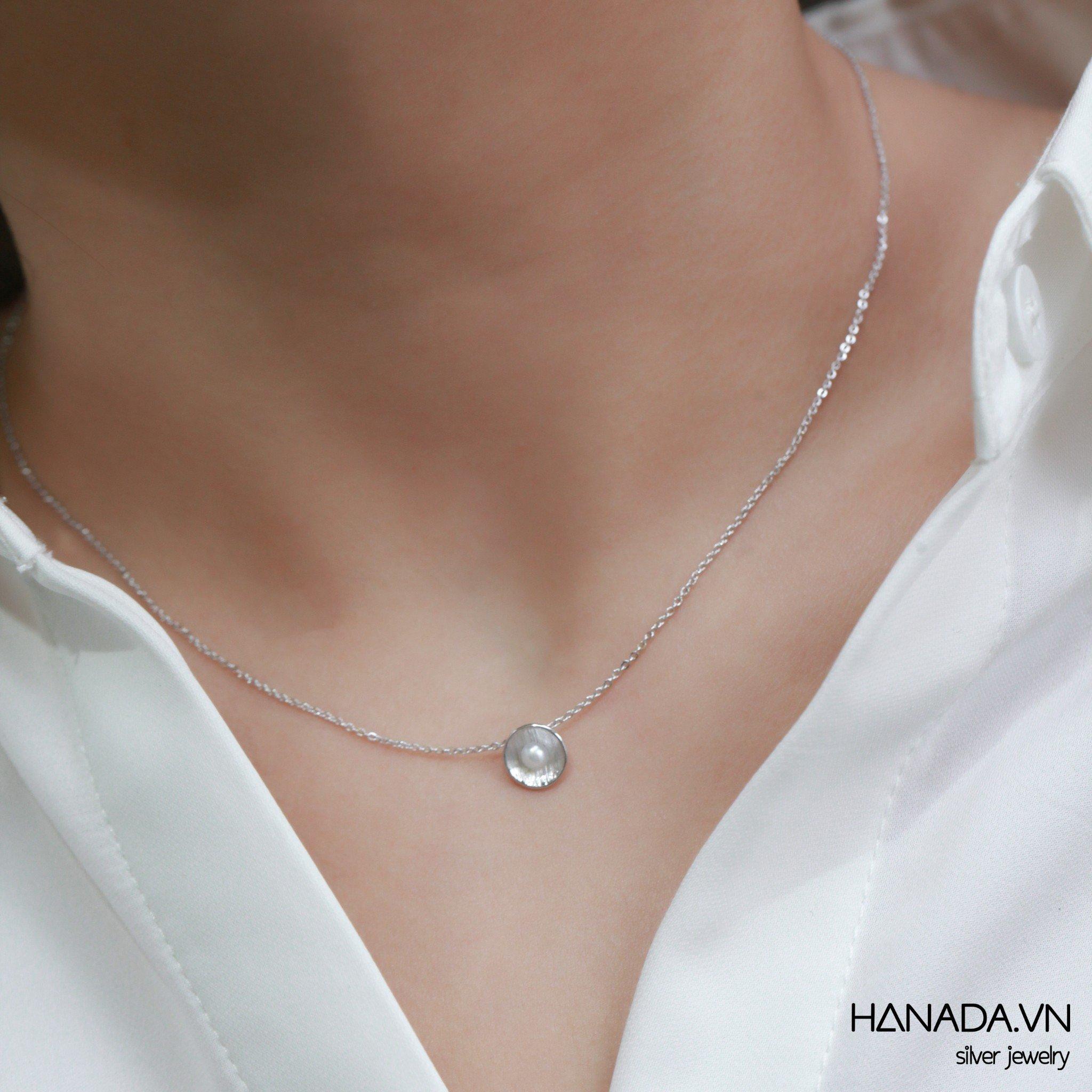 Dây Chuyền Bạc 925 Hanada N12.N.P.B.280.0531 Sò Ngọc Trai Nhỏ