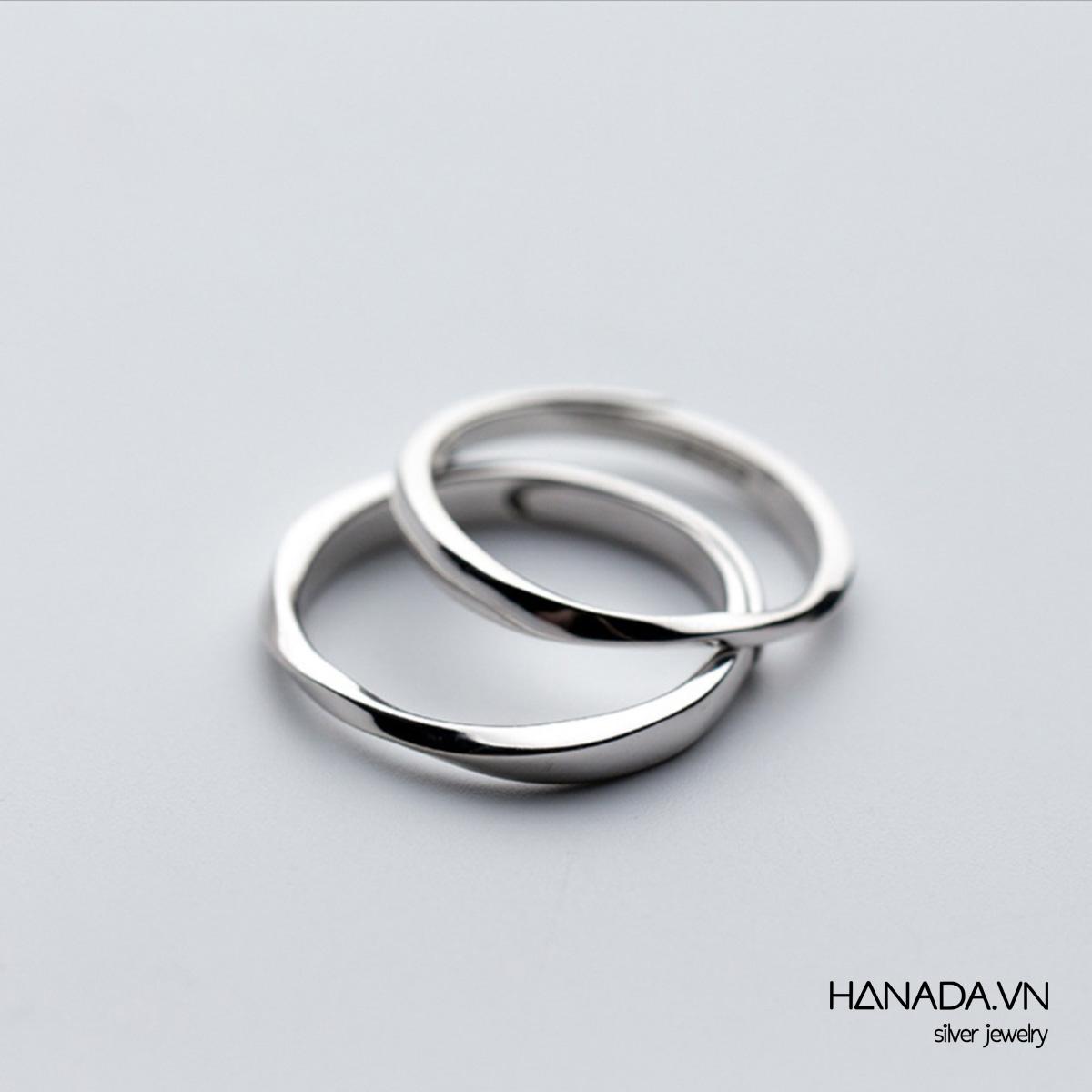 Nhẫn Bạc 925 Hanada Nhẫn Lượn Sóng