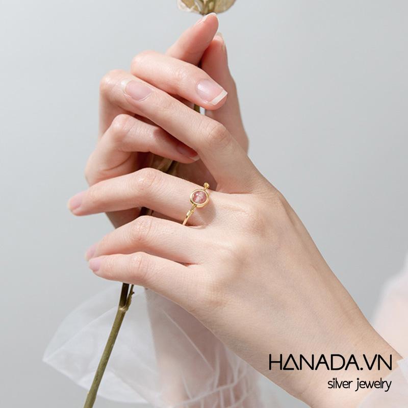 Nhẫn Bạc 925 Hanada N34.R.1.B.240.0057 Đá Thạch Anh