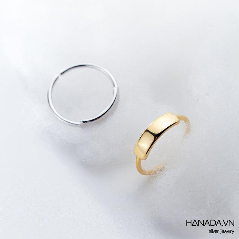 Nhẫn Bạc 925 Hanada Nhẫn Unisex Freesize Khắc Chữ N1234.R.0.B.220. 0761