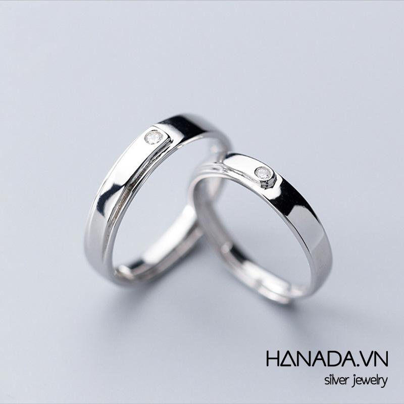 Nhẫn Bạc 925 Hanada N12.RCF.1.B.300.0103 Vuông Một Đá
