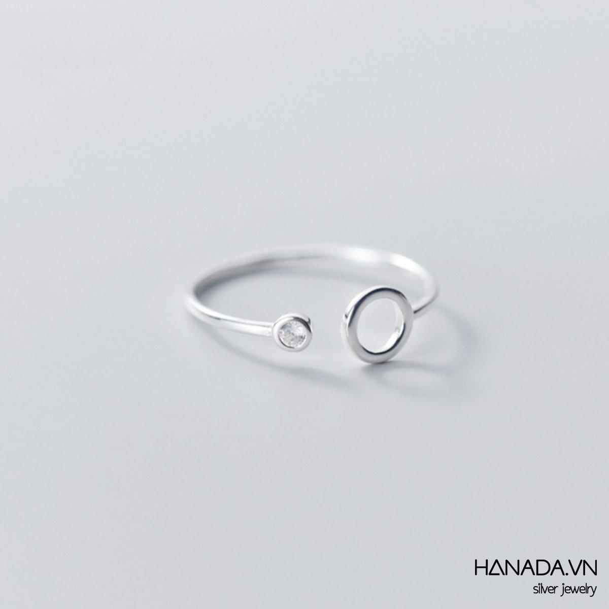 Nhẫn Bạc 925 Hanada N12.R.1.B.140.0520 Vòng Tròn Đối 1 Đá