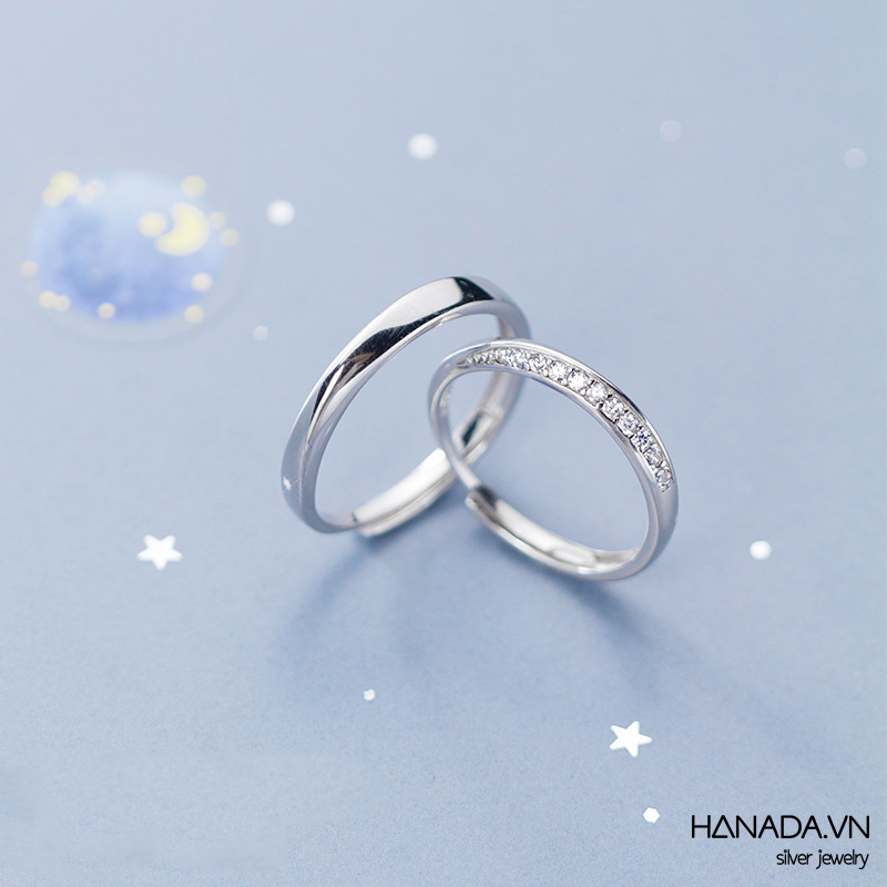 Nhẫn Cặp Bạc 925 Hanada N12.RCM.2.B.300.0111 Nhẫn Xoắn