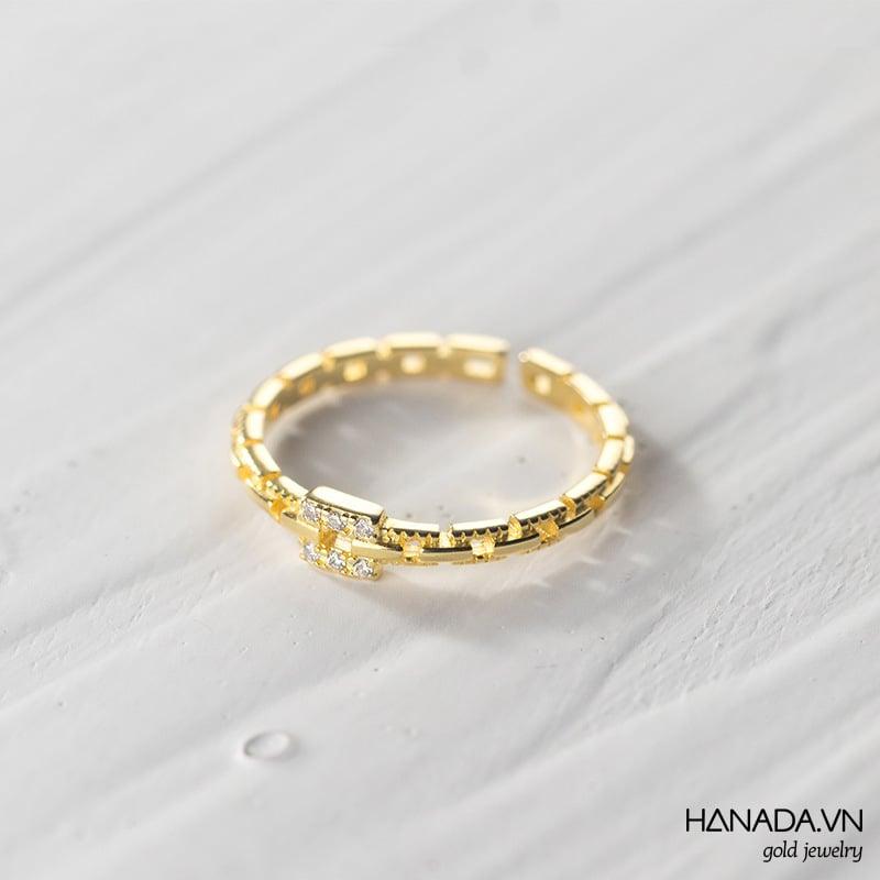 Nhẫn Bạc 925 Hanada N1234.R.2.B.240.0572 Mắt Xích Có Đá