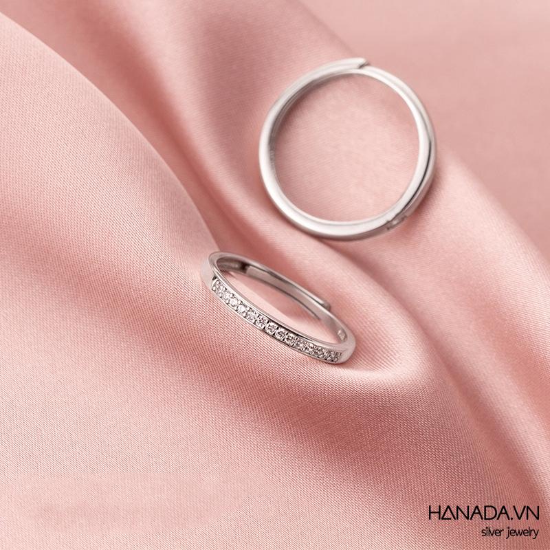 Nhẫn Cặp Bạc 925 Hanada N1234.RCF.1.B.300.0748 Nửa Vuông Đá
