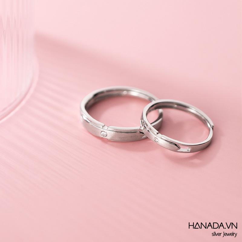 Nhẫn Cặp Bạc 925 Hanada N12.RCM.1.B.300. 0718 Nhám Một Đá