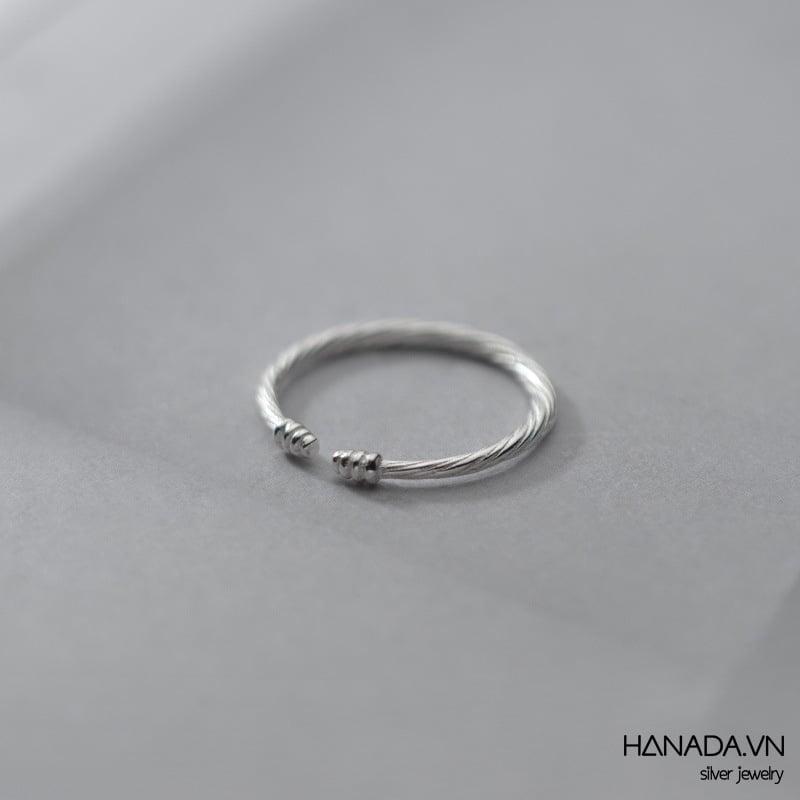 Nhẫn Bạc 925 Hanada Nhẫn Xoắn Unisex Mảnh N1234.R.0.B.160. 0781
