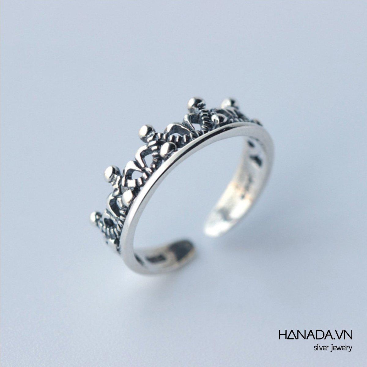 Nhẫn Bạc 925 Hanada Nhẫn Bạc Vương Miện Nhỏ Unisex Xi Đen
