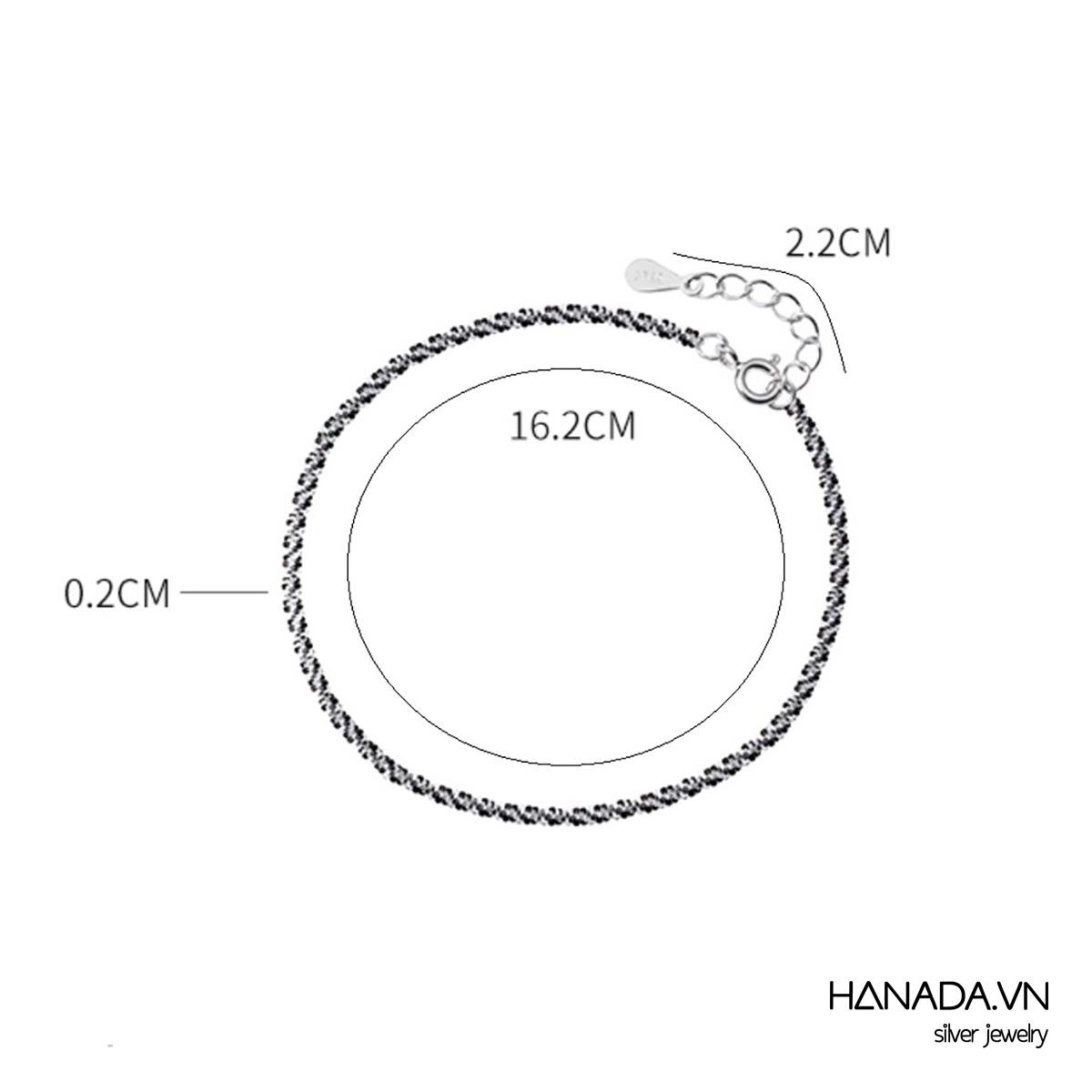 Lắc Tay Bạc 925 Hanada N1234.B.0.S.200. 0269 Lắc Tay Trơn Lấp Lánh