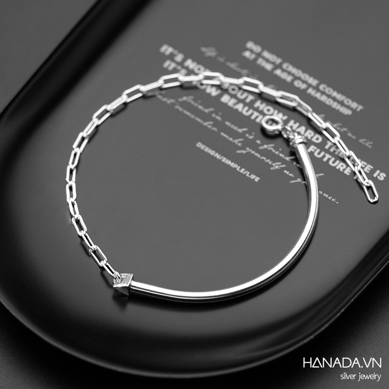 Lắc Tay Bạc 925 Hanada N1234.B.0.B.420. 0777 Unisex Kiểu Kiềng Xích